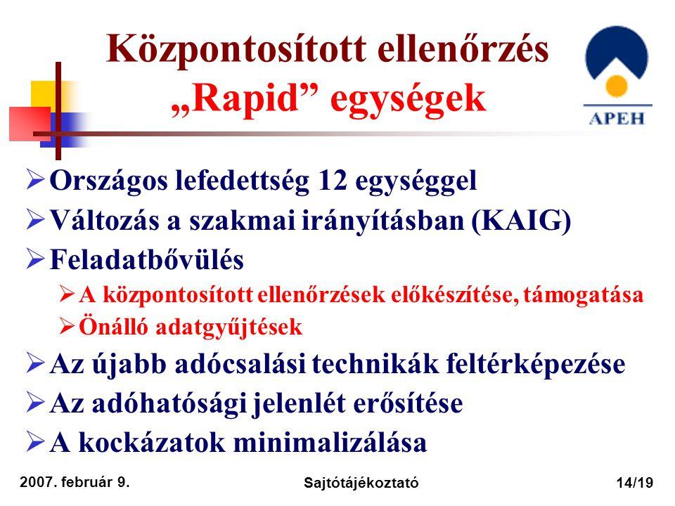 """Központosított ellenőrzés """"Rapid egységek"""