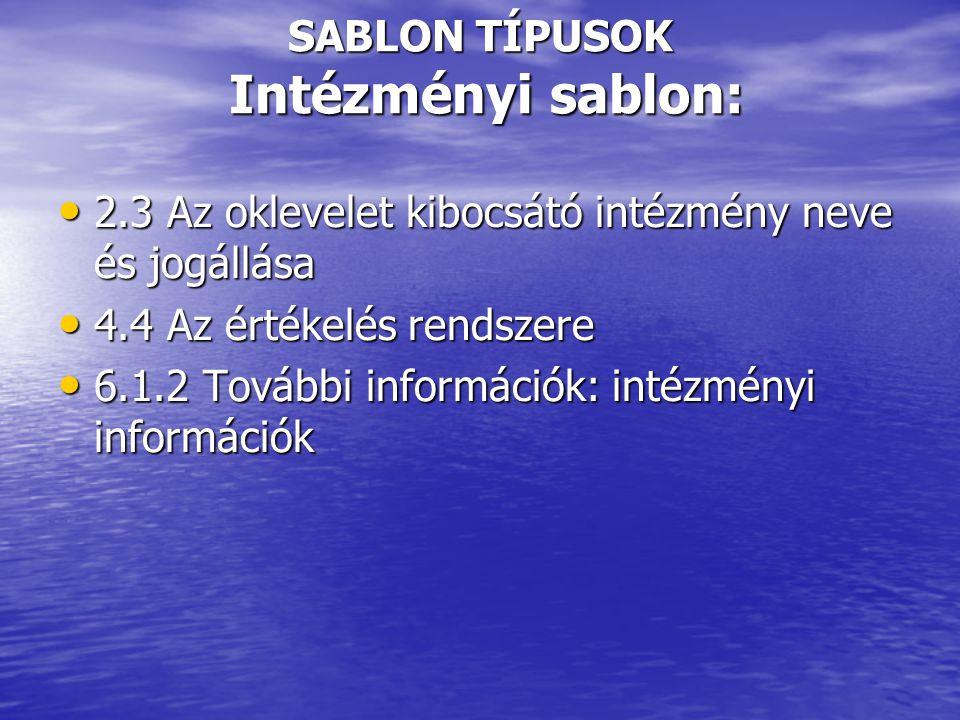 SABLON TÍPUSOK Intézményi sablon: