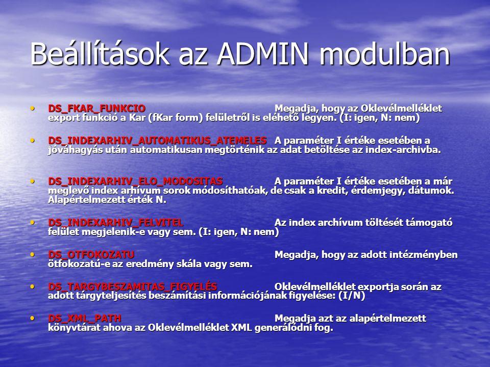 Beállítások az ADMIN modulban