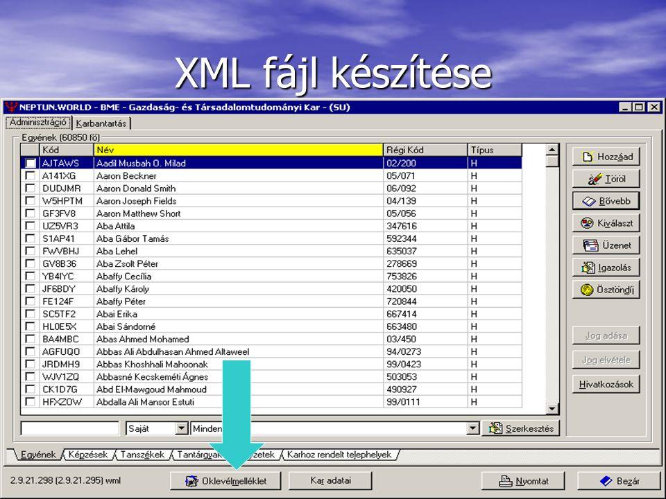 XML fájl készítése