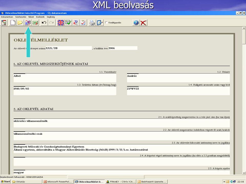 XML beolvasás