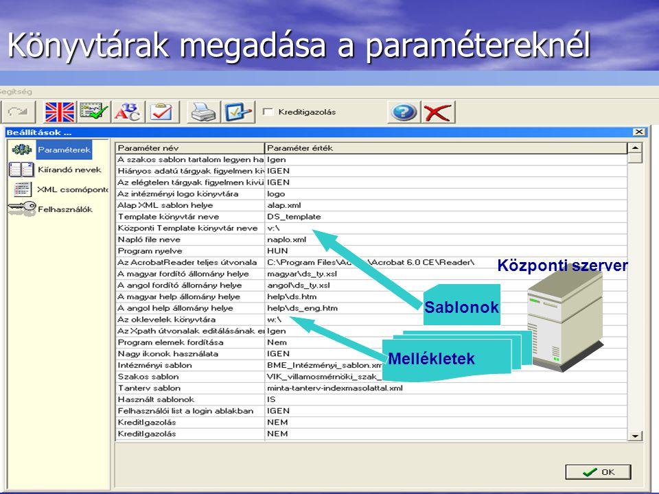 Könyvtárak megadása a paramétereknél