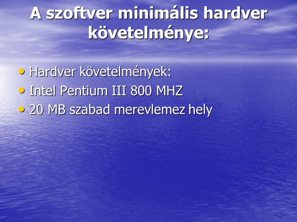 A szoftver minimális hardver követelménye:
