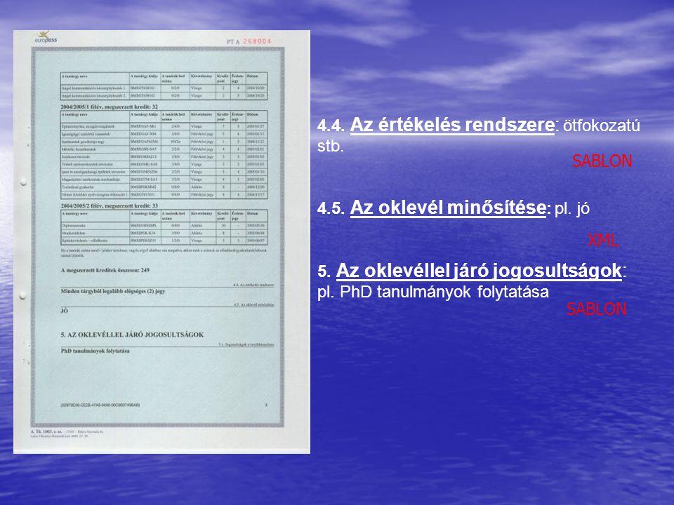 4.4. Az értékelés rendszere: ötfokozatú stb.