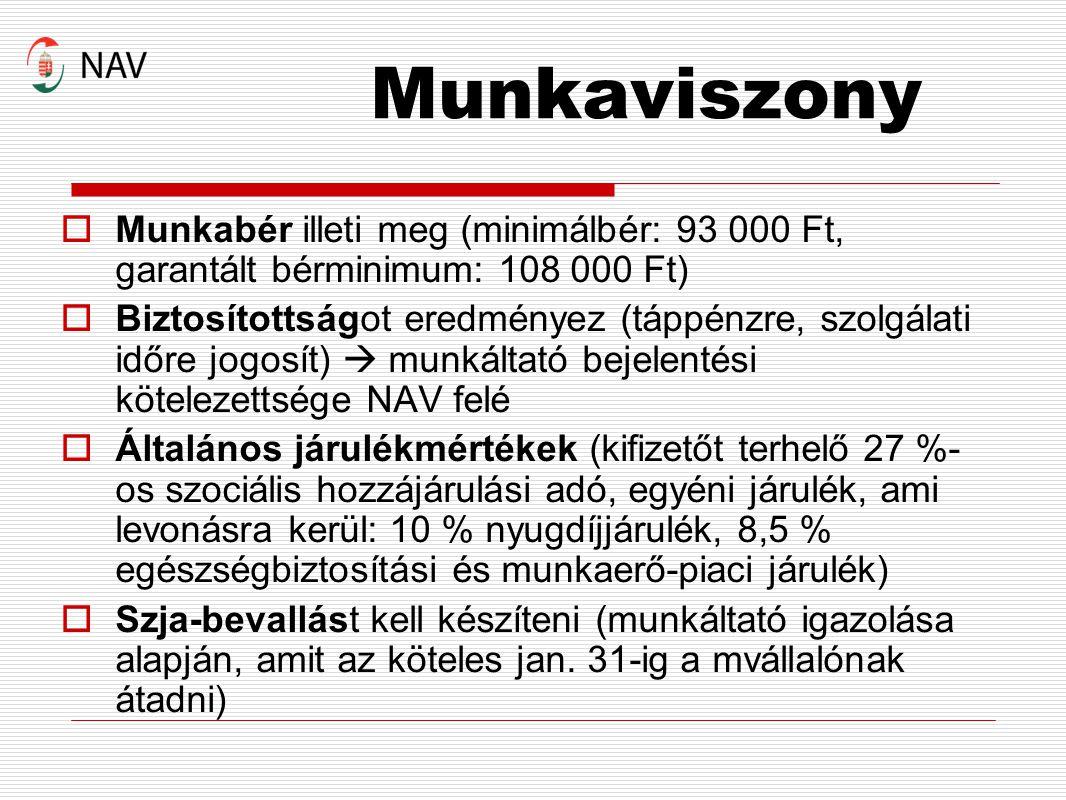Munkaviszony Munkabér illeti meg (minimálbér: 93 000 Ft, garantált bérminimum: 108 000 Ft)