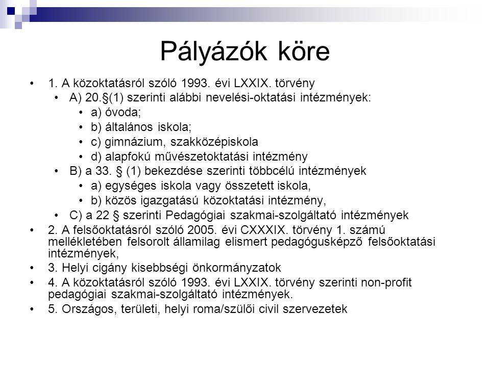 Pályázók köre 1. A közoktatásról szóló 1993. évi LXXIX. törvény