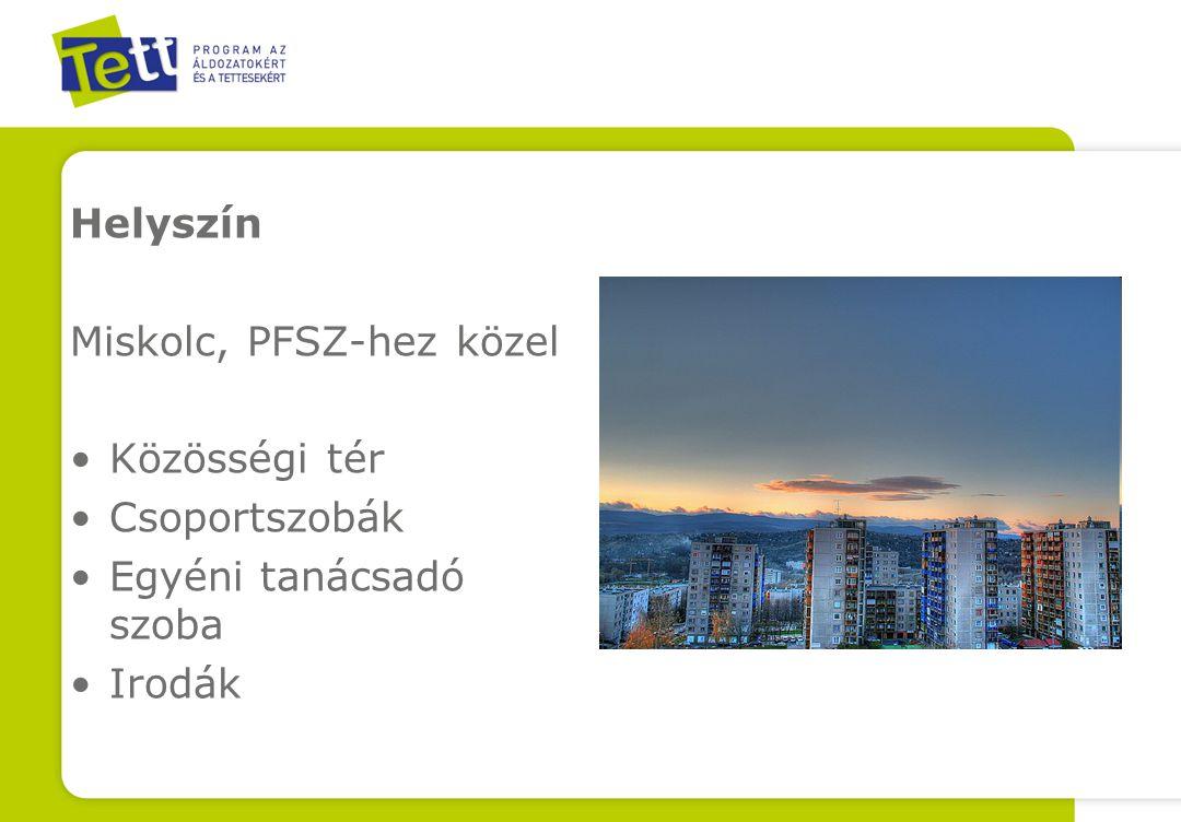 Helyszín Miskolc, PFSZ-hez közel Közösségi tér Csoportszobák Egyéni tanácsadó szoba Irodák
