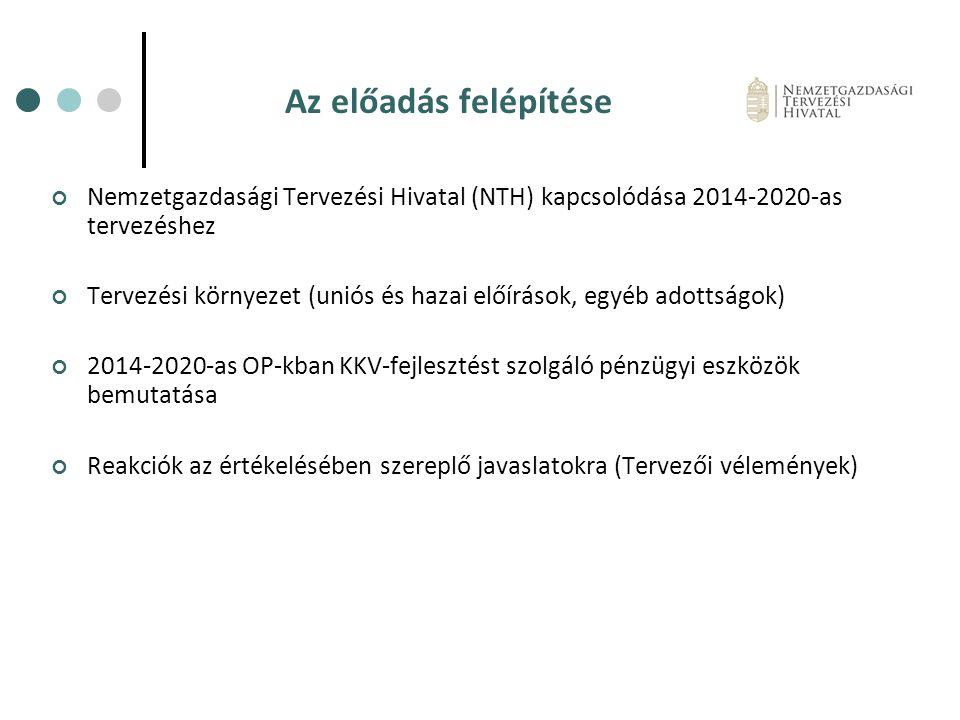 Az előadás felépítése Nemzetgazdasági Tervezési Hivatal (NTH) kapcsolódása 2014-2020-as tervezéshez.