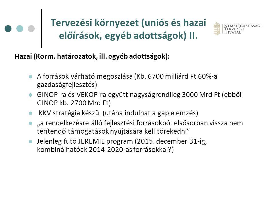 Tervezési környezet (uniós és hazai előírások, egyéb adottságok) II.