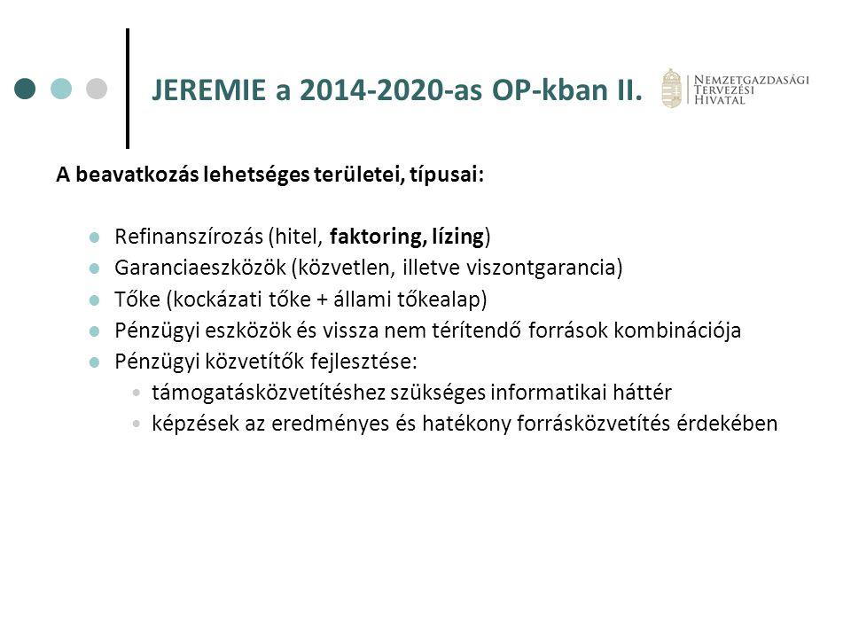 JEREMIE a 2014-2020-as OP-kban II.
