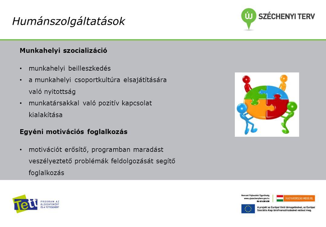 Humánszolgáltatások Munkahelyi szocializáció munkahelyi beilleszkedés