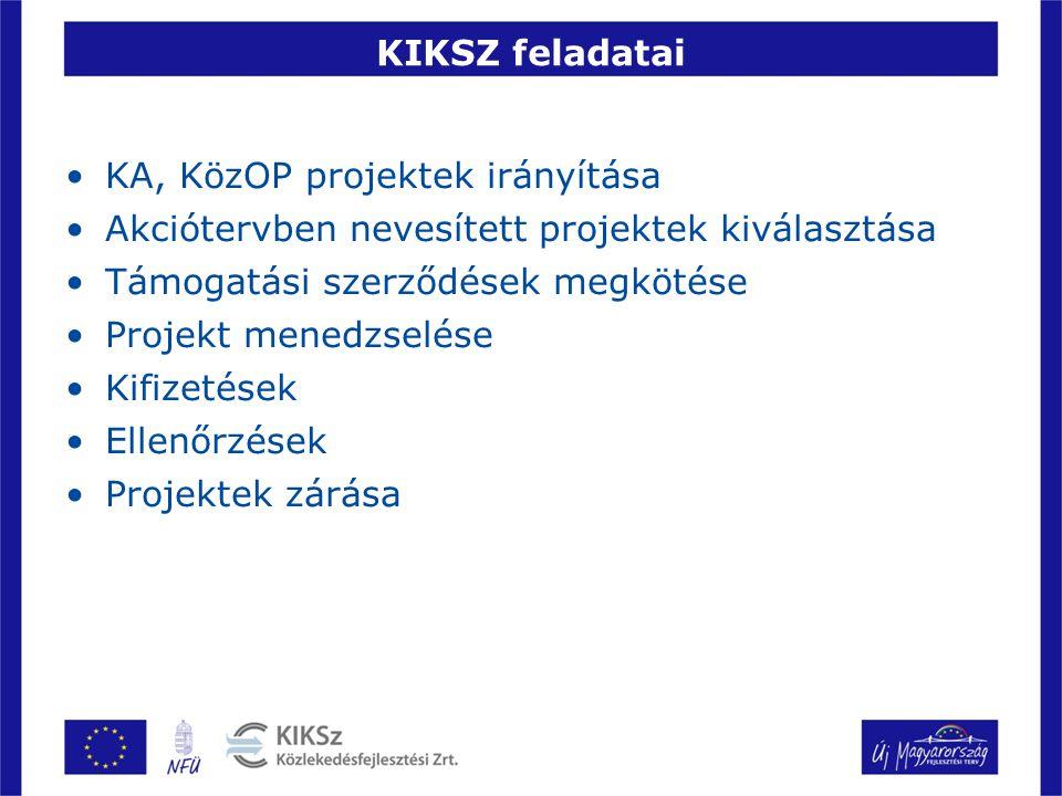 KIKSZ feladatai KA, KözOP projektek irányítása. Akciótervben nevesített projektek kiválasztása. Támogatási szerződések megkötése.