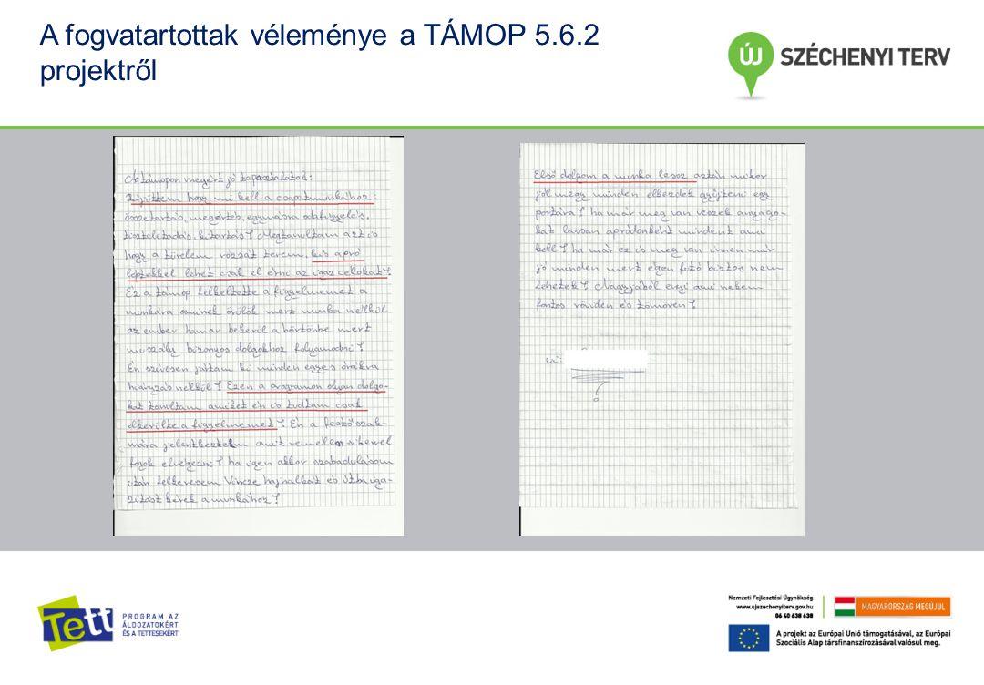 A fogvatartottak véleménye a TÁMOP 5.6.2