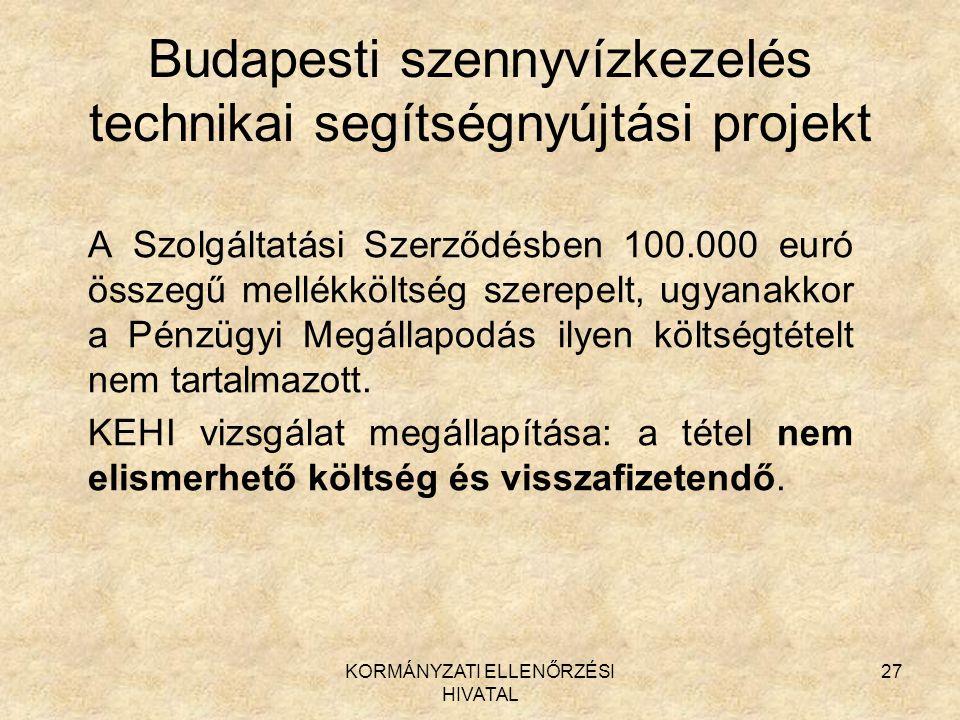 Budapesti szennyvízkezelés technikai segítségnyújtási projekt