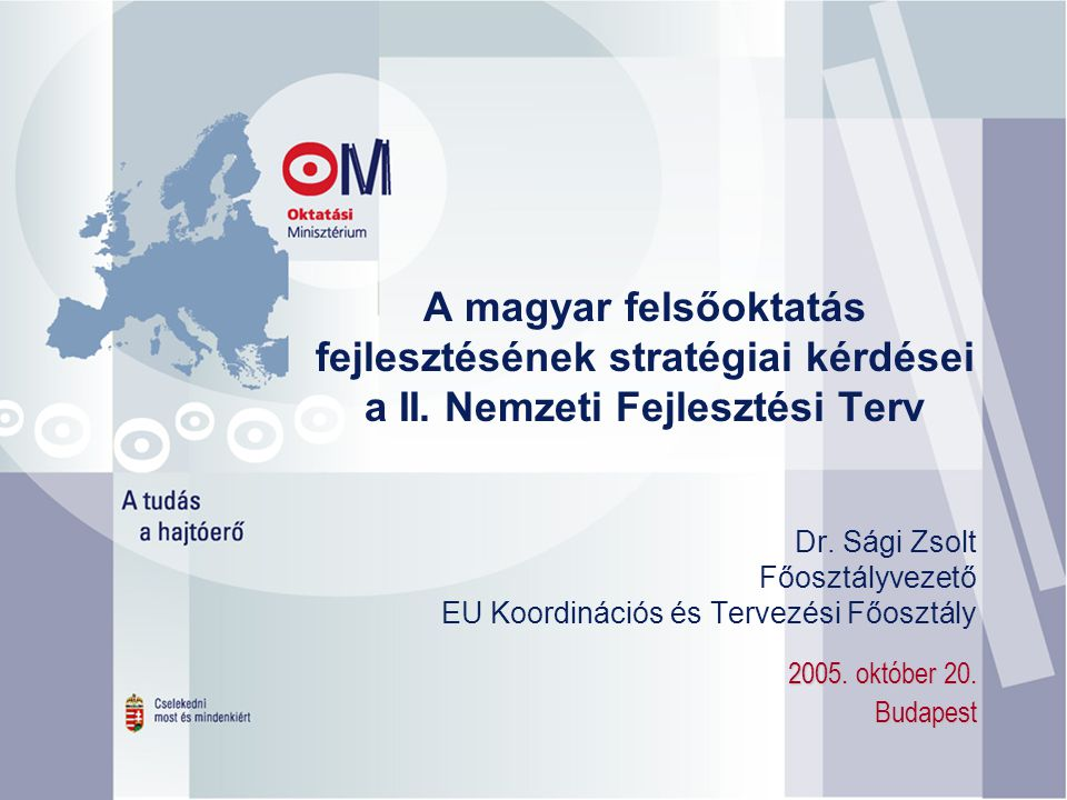 Dr. Sági Zsolt Főosztályvezető EU Koordinációs és Tervezési Főosztály