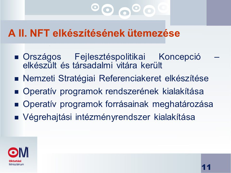 A II. NFT elkészítésének ütemezése