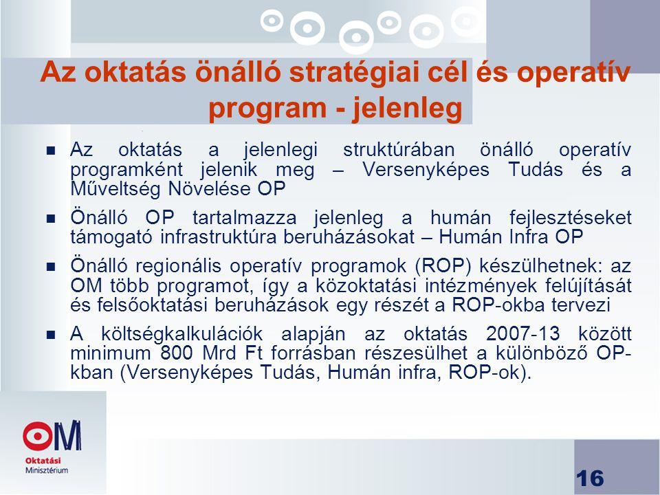Az oktatás önálló stratégiai cél és operatív program - jelenleg