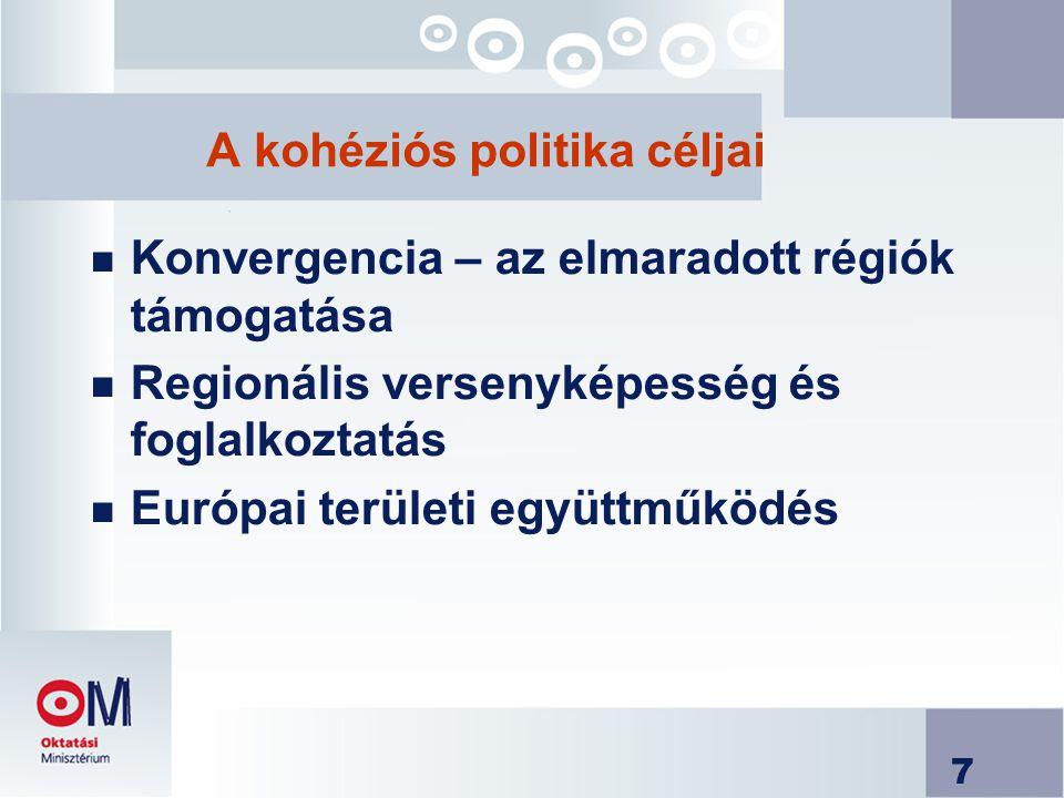 A kohéziós politika céljai