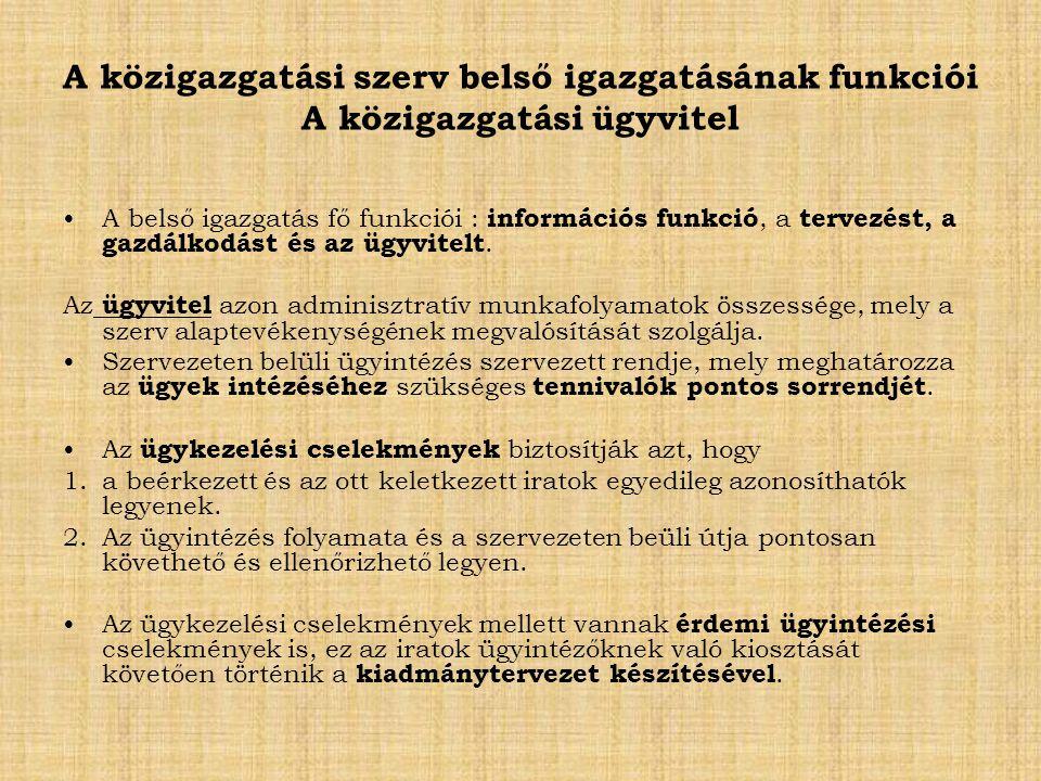A közigazgatási szerv belső igazgatásának funkciói A közigazgatási ügyvitel