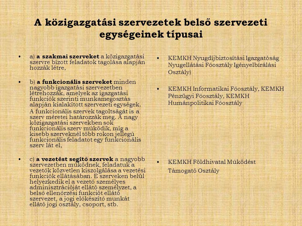 A közigazgatási szervezetek belső szervezeti egységeinek típusai