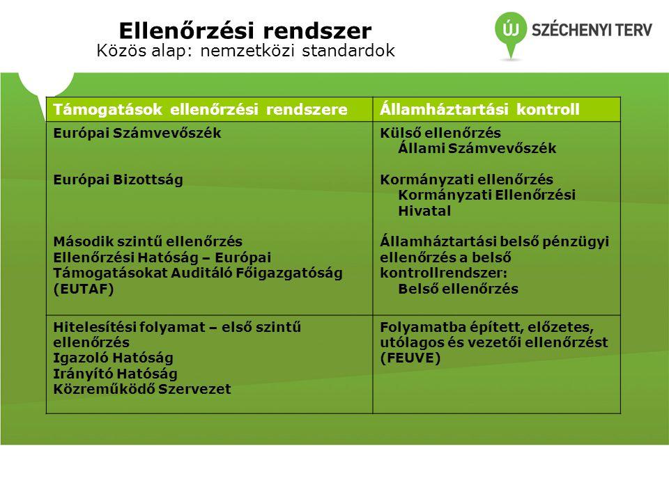Ellenőrzési rendszer Közös alap: nemzetközi standardok