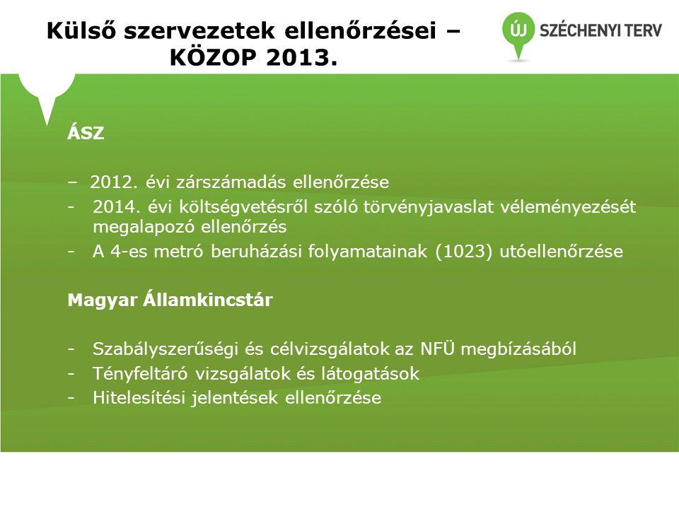 Külső szervezetek ellenőrzései – KÖZOP 2013.
