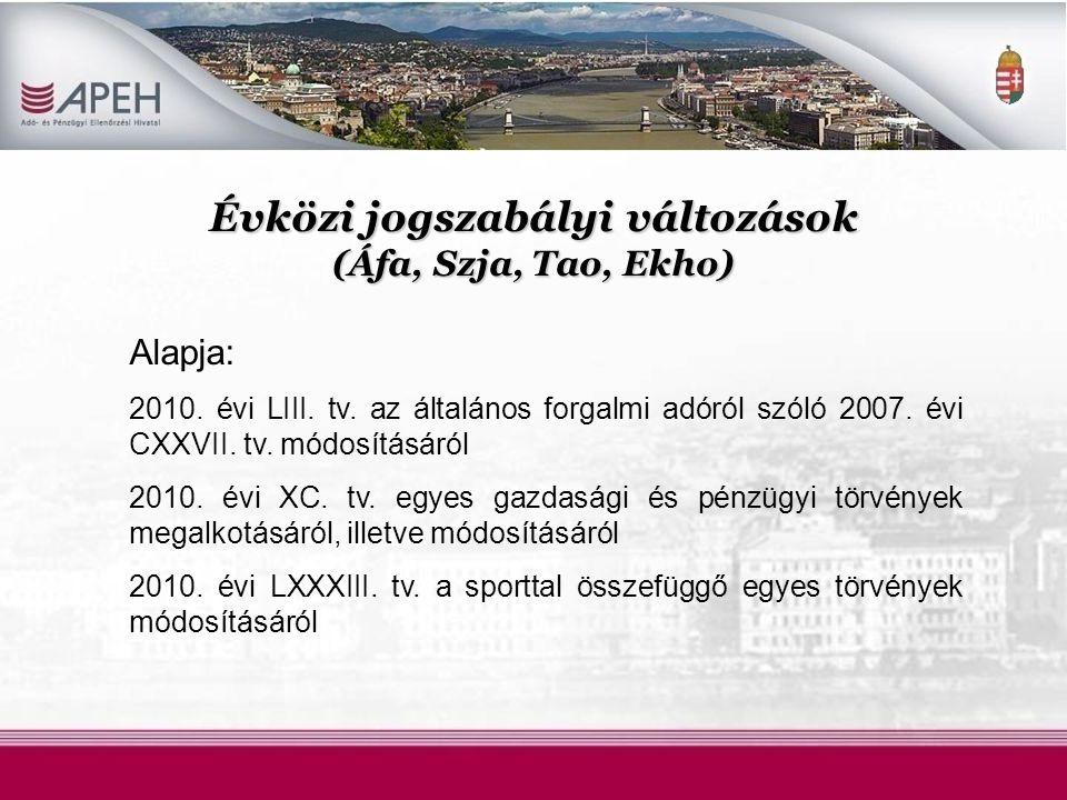 Évközi jogszabályi változások (Áfa, Szja, Tao, Ekho)