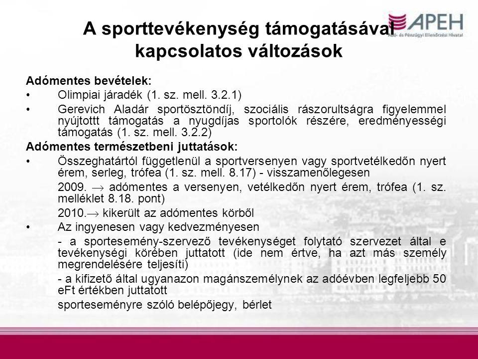 A sporttevékenység támogatásával kapcsolatos változások
