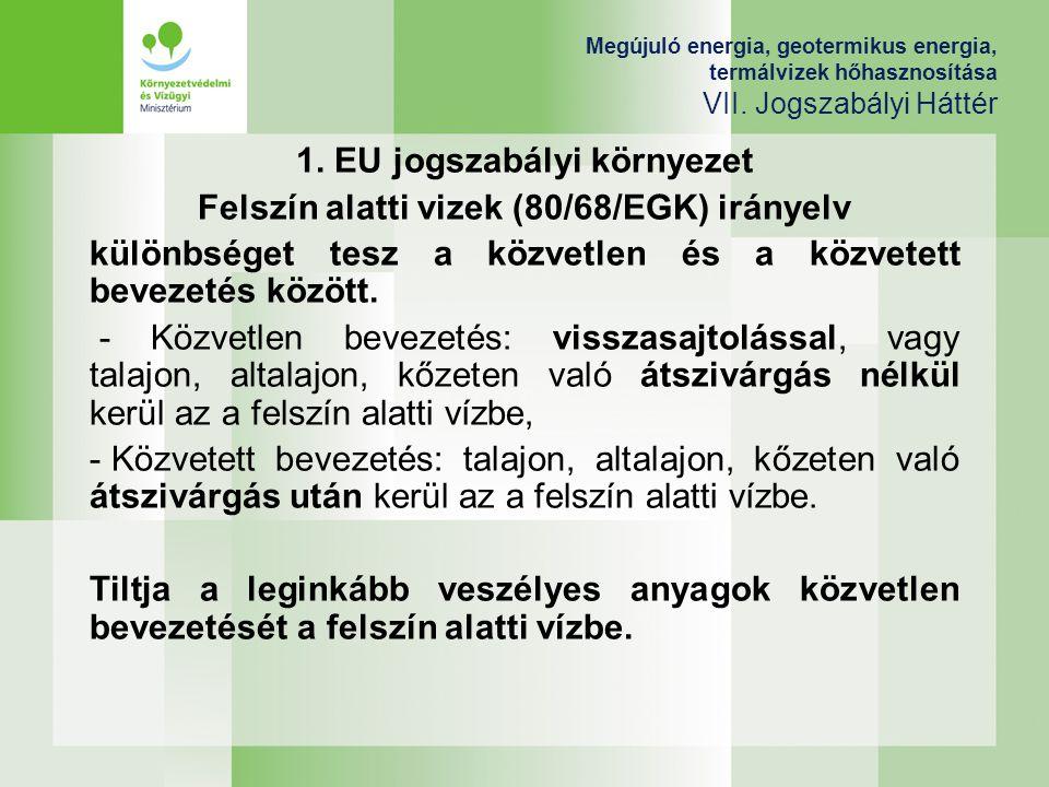 1. EU jogszabályi környezet Felszín alatti vizek (80/68/EGK) irányelv