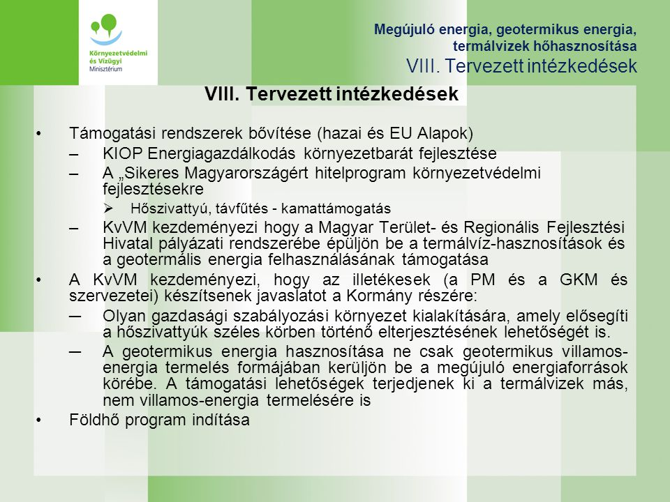 VIII. Tervezett intézkedések