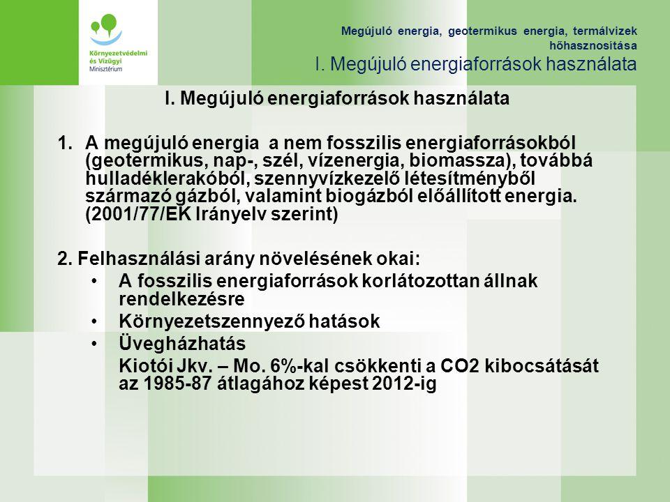 I. Megújuló energiaforrások használata