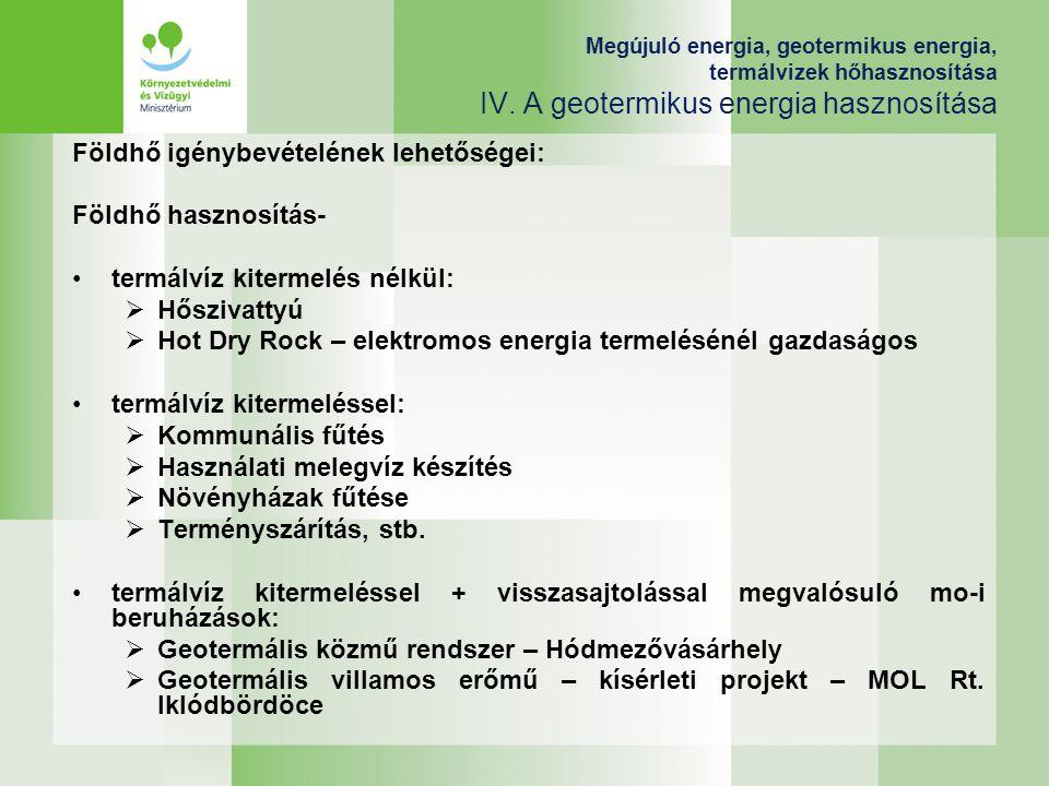 Földhő igénybevételének lehetőségei: Földhő hasznosítás-