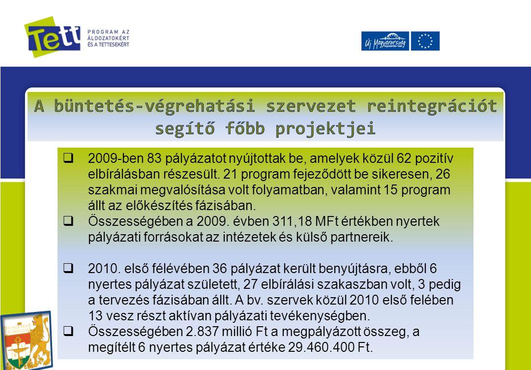 A büntetés-végrehatási szervezet reintegrációt segítő főbb projektjei