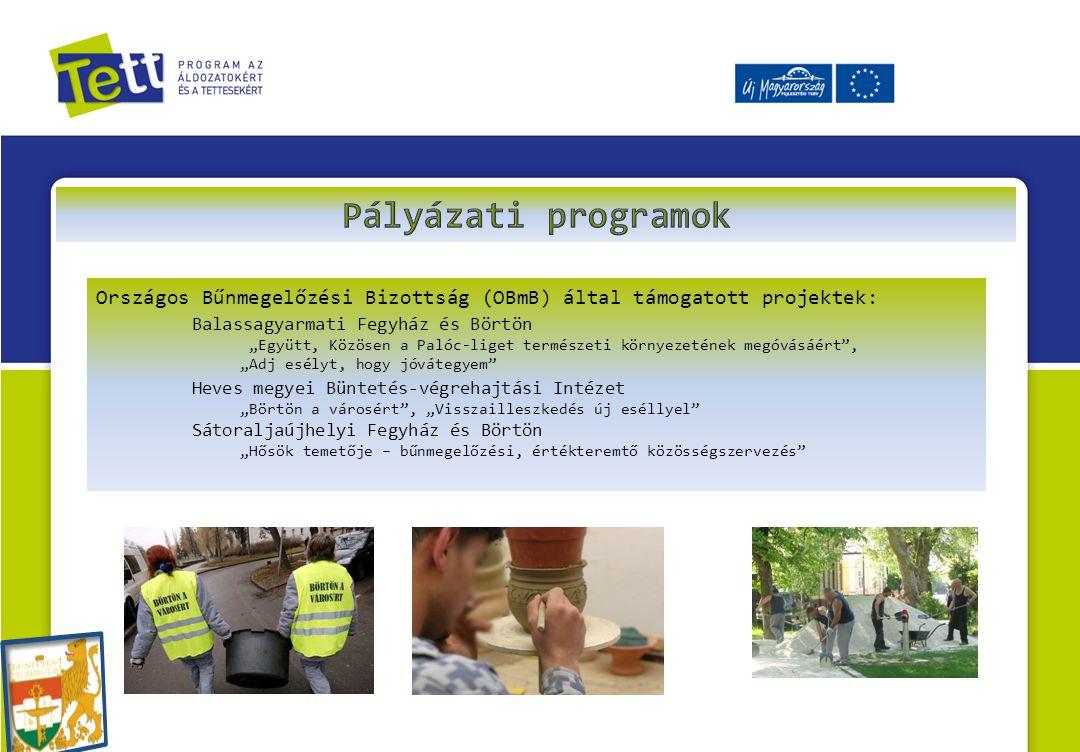 Pályázati programok Országos Bűnmegelőzési Bizottság (OBmB) által támogatott projektek: Balassagyarmati Fegyház és Börtön.