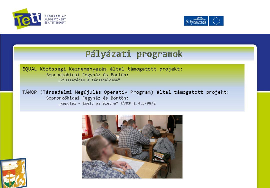 Pályázati programok EQUAL Közösségi Kezdeményezés által támogatott projekt: Sopronkőhidai Fegyház és Börtön: