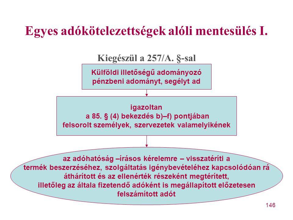 Egyes adókötelezettségek alóli mentesülés I.