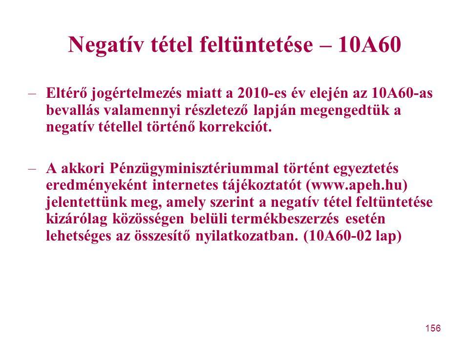 Negatív tétel feltüntetése – 10A60