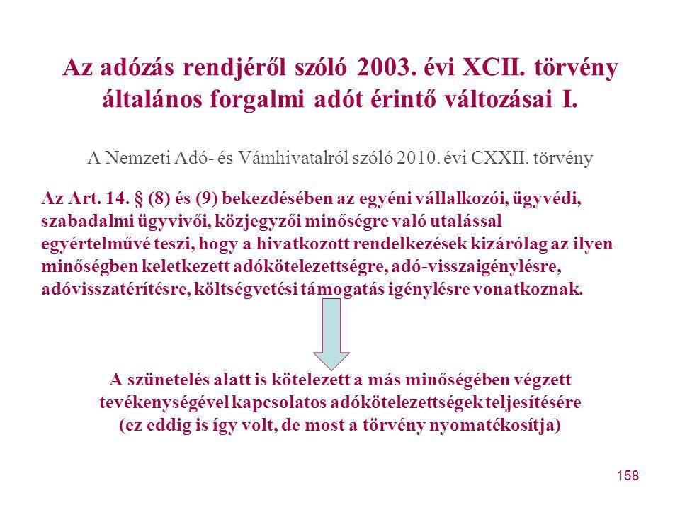 Az adózás rendjéről szóló 2003. évi XCII