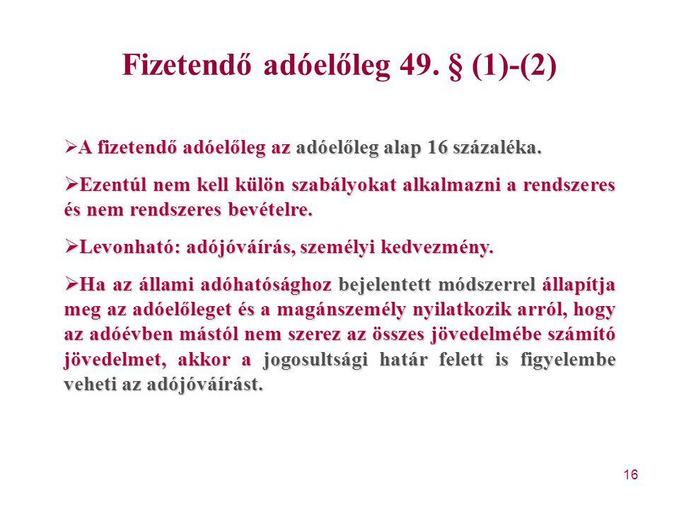Fizetendő adóelőleg 49. § (1)-(2)
