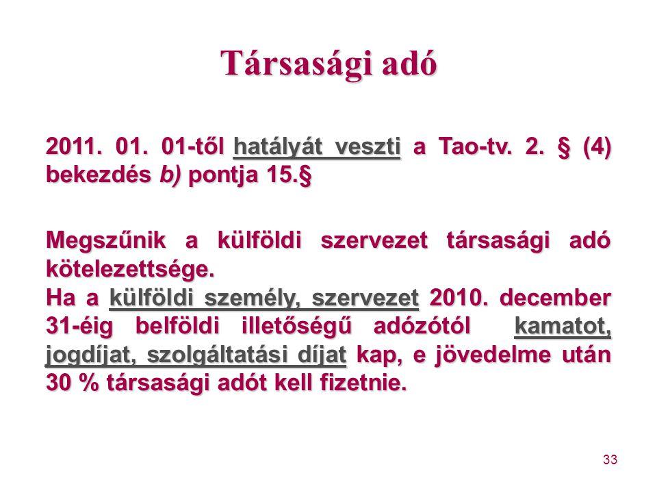 Társasági adó 2011. 01. 01-től hatályát veszti a Tao-tv. 2. § (4) bekezdés b) pontja 15.§