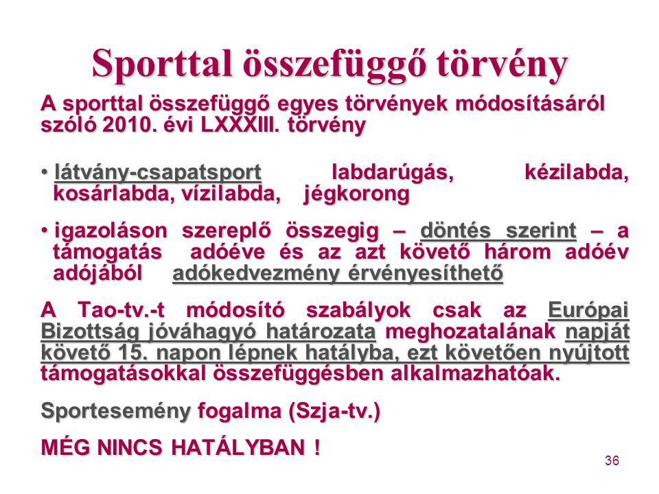 Sporttal összefüggő törvény