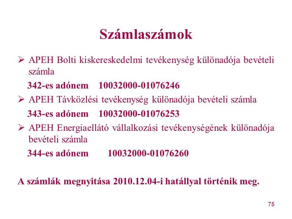 Számlaszámok APEH Bolti kiskereskedelmi tevékenység különadója bevételi számla. 342-es adónem 10032000-01076246.
