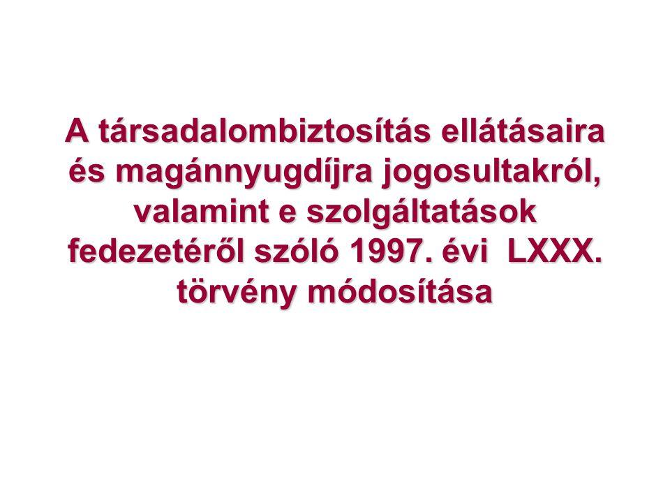 A társadalombiztosítás ellátásaira és magánnyugdíjra jogosultakról, valamint e szolgáltatások fedezetéről szóló 1997.