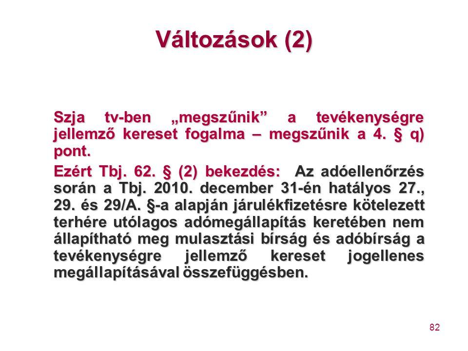 """Változások (2) Szja tv-ben """"megszűnik a tevékenységre jellemző kereset fogalma – megszűnik a 4. § q) pont."""