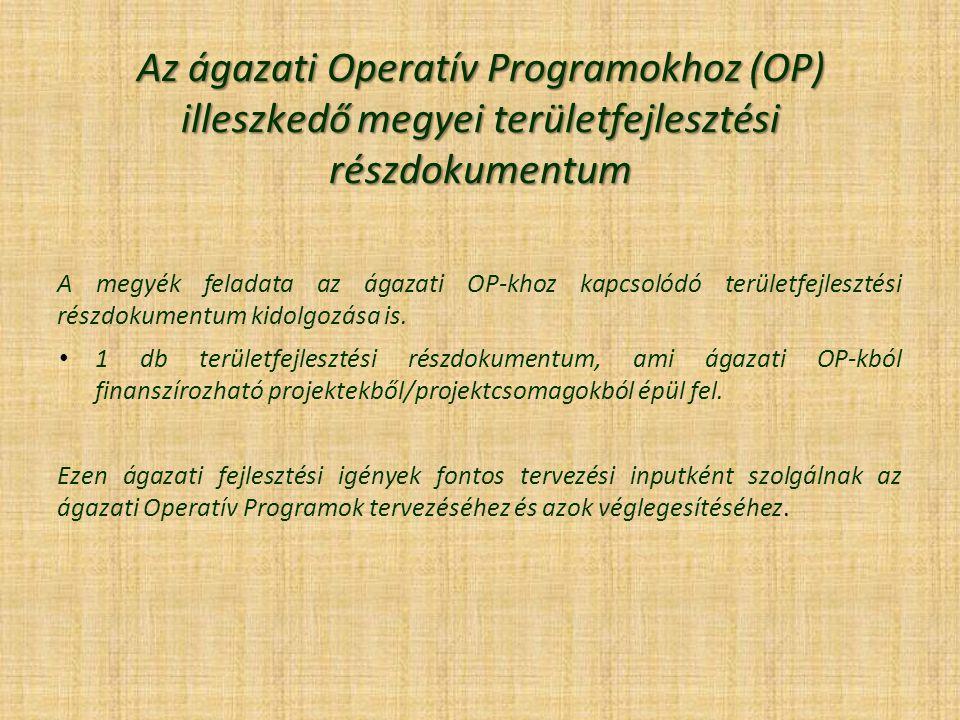 Az ágazati Operatív Programokhoz (OP) illeszkedő megyei területfejlesztési részdokumentum