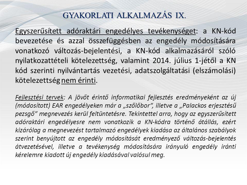GYAKORLATI ALKALMAZÁS IX.