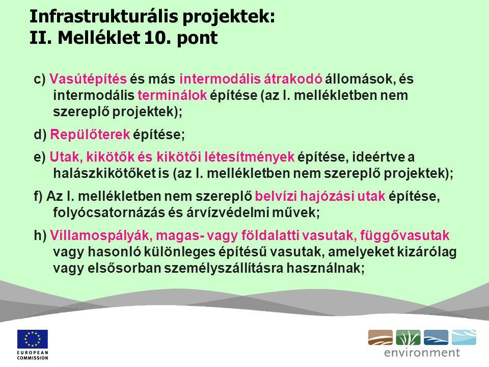 Infrastrukturális projektek: II. Melléklet 10. pont