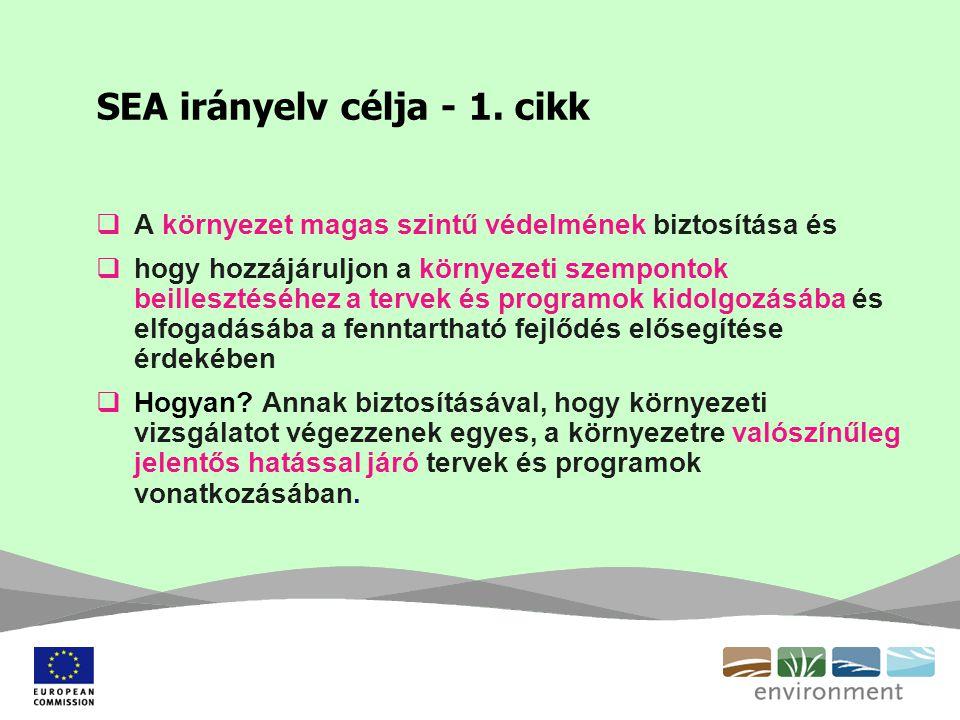 SEA irányelv célja - 1. cikk