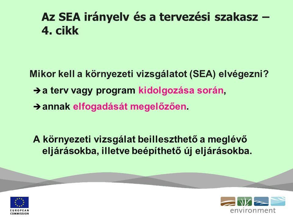 Az SEA irányelv és a tervezési szakasz – 4. cikk