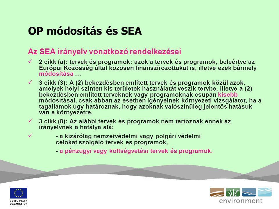 OP módosítás és SEA Az SEA irányelv vonatkozó rendelkezései